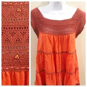 Free People | Embroidered Beaded Top Small Coral